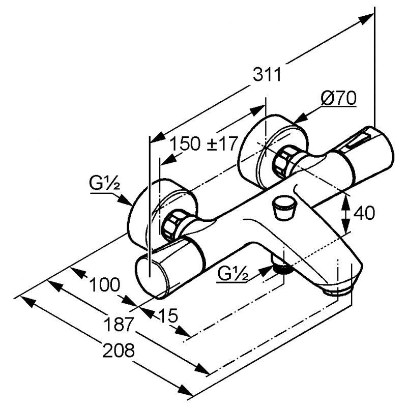 ZENTA vaňová a sprchová jednopáková batéria DN 15