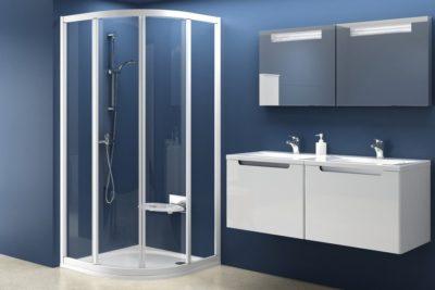 SKCP4 - 90 Štvrťkruhový sprchovací kút štvordielny matný hliník + transparent
