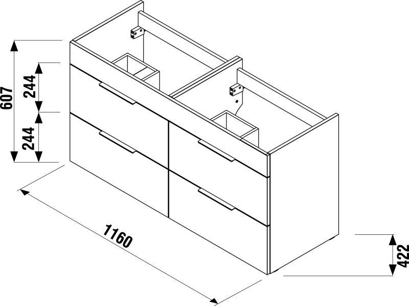 CUBE skrinka s dvojumývadlom 120cm biela