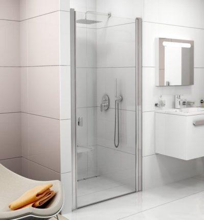 CSD1-80 Sprchové dvere do niky lesklý hliník