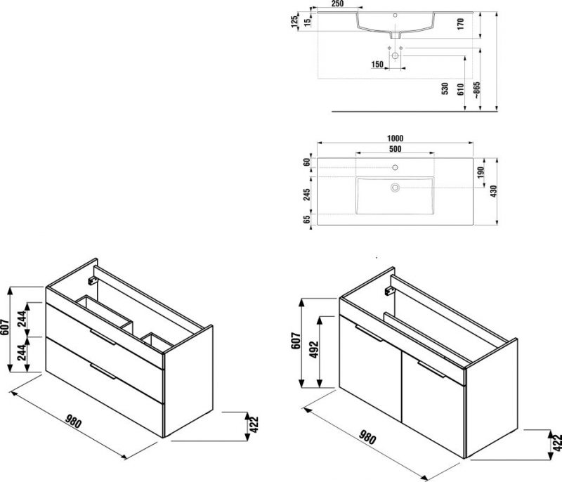 CUBE skrinka s umývadlom 100cm biela