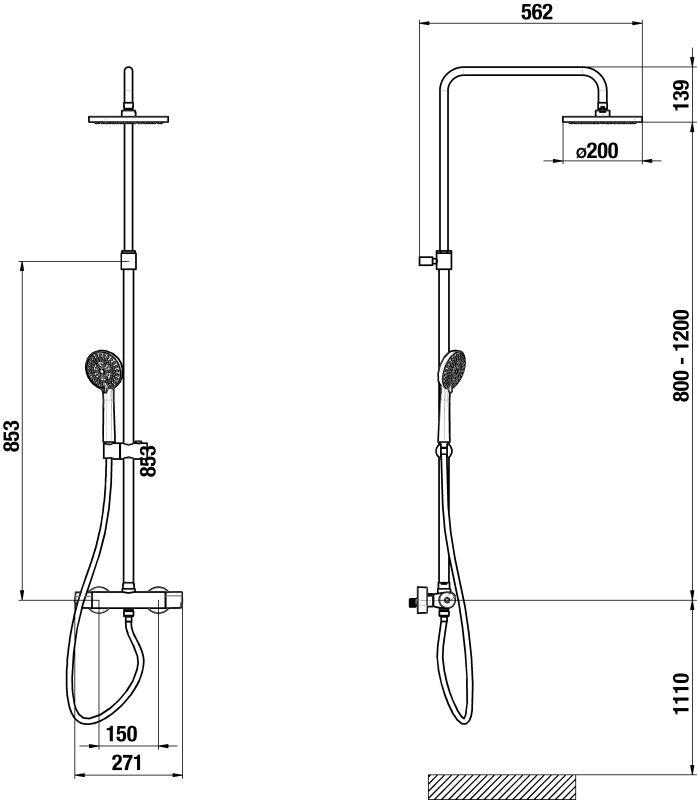 MIO Termostatický stĺp sprchový