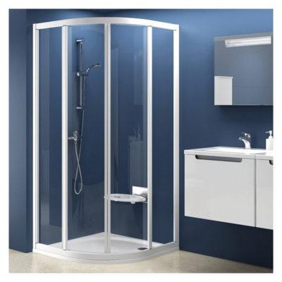 Sprchovací kút štvrťkruhový štvordielny biely + transparent SKCP4 - 90   31170100Z1