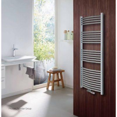 Kúpeľňový radiátor ZEHNDER SAIL 1200x496x50 chróm napojenie v strede