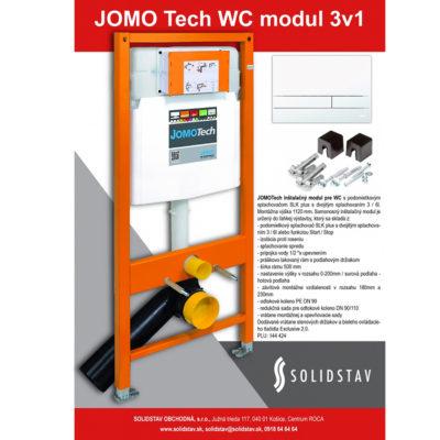 Inštalačný modul JOMOTech WC 3v1-modul + tlačidlo biele+sada držiakov