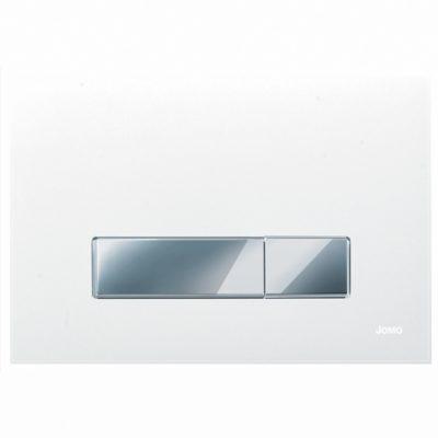 Ovládacie WC tlačidlo JOMO AMBIENTE sklo biele matné, chróm/chróm