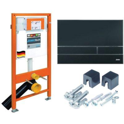 JOMO JOMOTech 3v1 podomietkový inštalačný modul pre WC + tlačítko čierne + montážna sada, 174-91102500-00