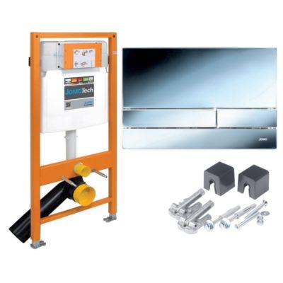 JOMO JOMOTech 3v1 podomietkový modul pre WC + tlačítko chróm lesk + montážna sada, 174-91101300-00