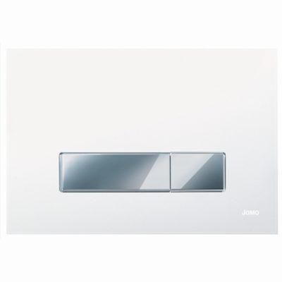 Ovládacie WC tlačidlo JOMO AMBIENTE sklo biele, chróm/chróm