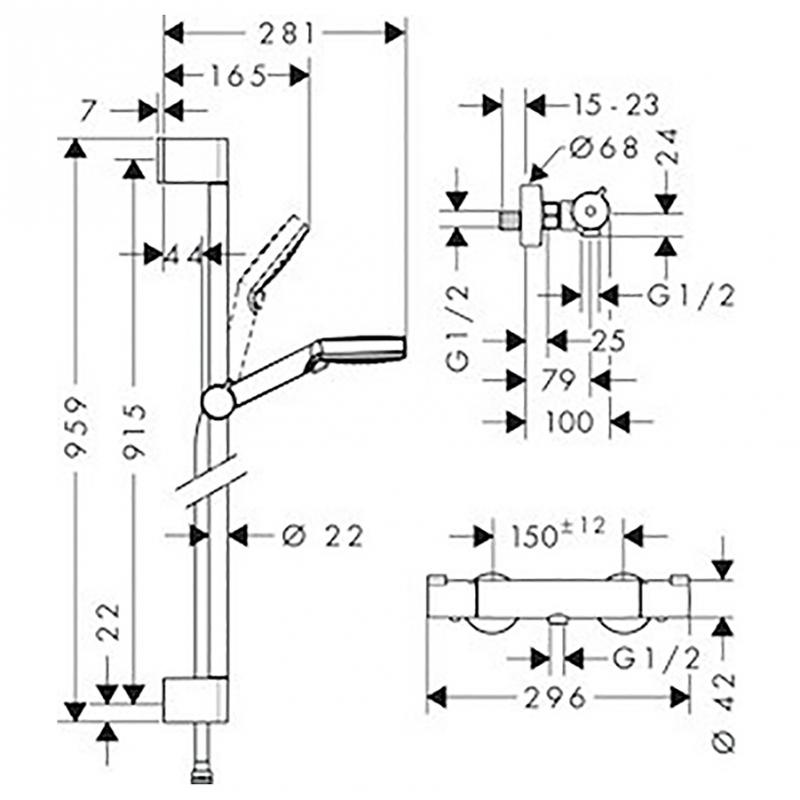 Sprchová batéria Hansgrohe Vario Crometta so sprchovacím setom 150 mm biela / chróm 27813400